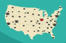 Map of US with mortarboards scattered around