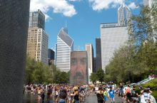 People gathering in Millennium Park in Chicago, Illinois.
