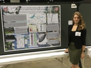 Jessica Welch Presenting her poster at the Geological Society of America Conference in