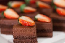 brownies with strawberries on top