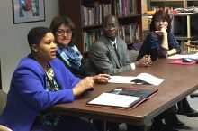 image of faculty members speaking at a panel for the Campus Climate Task Force.