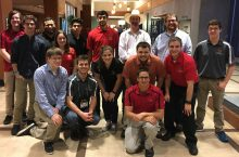TEECA Students at ITEEA Conference: Nick Schwieger (back, left), Eric Tecuanhuehue, Andy Gonzalez, Atif Hussain, Chris Merrill, Josh Brown, Ryan Buckel (middle, left), Jordyn Imana, Alex Dunfee, Jarod Battisto, Josh Katz, Jon Babcock (front, left), Alex Hurst, and Andrew Wiercinski.