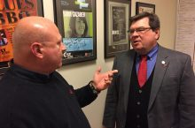 Willis Kern of WGLT interviews Illinois State University President Larry Dietz.