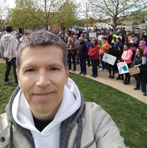 Illinois State Professor Wolfgang Stein at the March for Science in Normal (Photo by Wolfgang Stein)