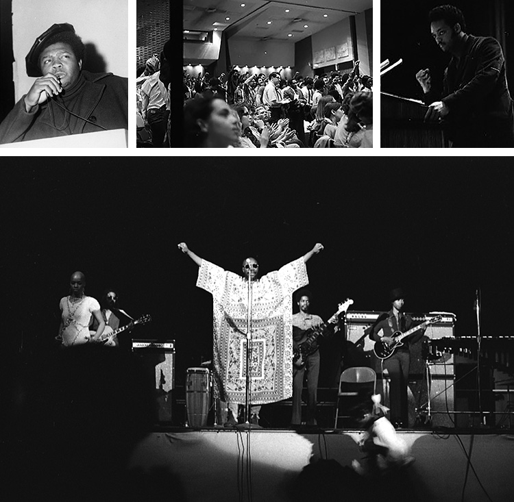 collage showing some of the black activists and performers invited to appear on campus from 1969-1972