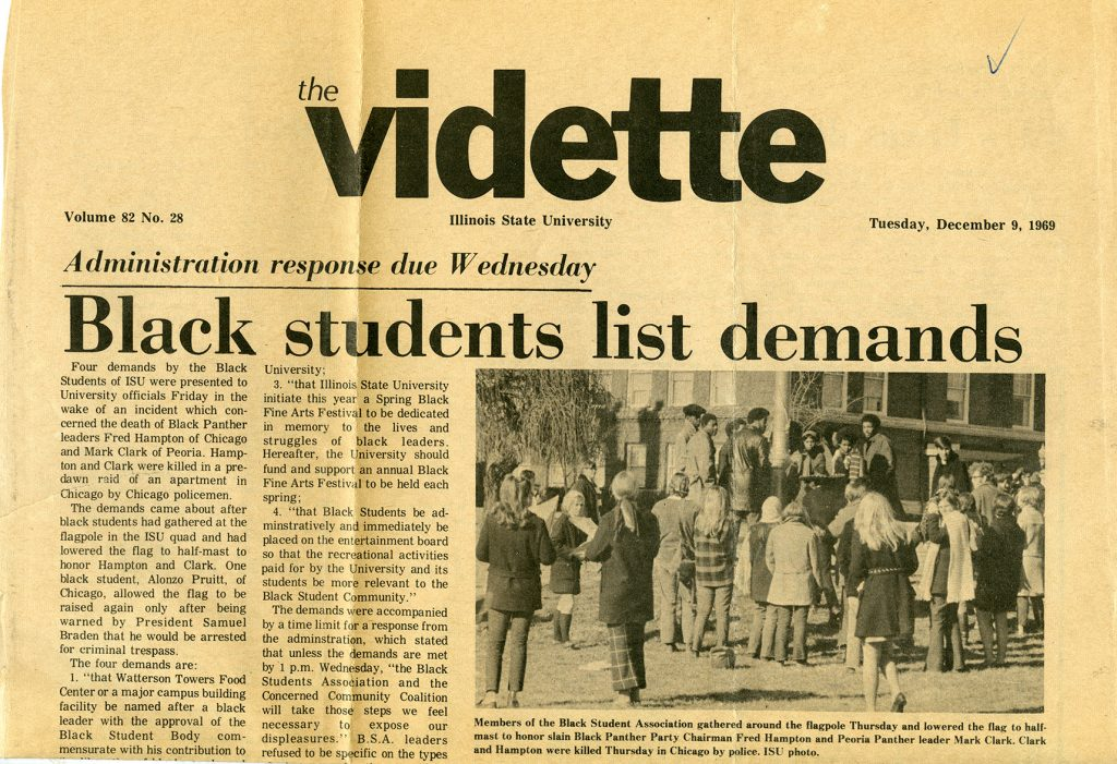"""Black students list demands"" read the headline on the cover of The Vidette on December 9, 1969."