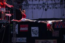 Nicole Barmore performs up in the air