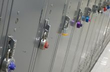K-12 lockers with colorful locks