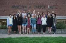 Fashion Design and Merchandising Association students pose for group pic