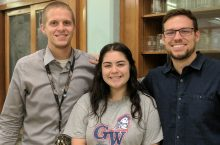 Illinois State alumni Matt Miller and Kyle Leonard, with George Washington student Carla Plascencia
