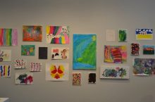 Artwork created by Marc Making artists on exhibit at the University Galleries. Photo compliments of Marcfirst.