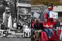 1940 parade float and 2015 parade float with students