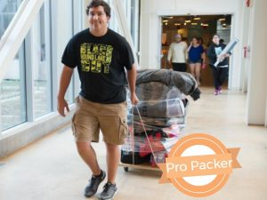 Fall 2016 Move In Hewett Hall, pro packer logo