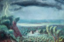 painting of stormy, rural landscape
