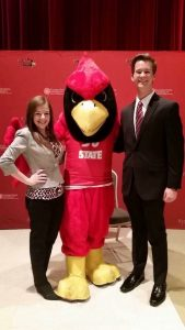 Klingenberg and Polczynski with Reggie Redbird at Presidential Scholars Interview Day, their Senior year of high school.