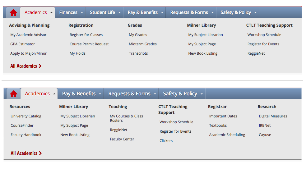 Examples of dropdown menus in My.IllinoisState for students and staff