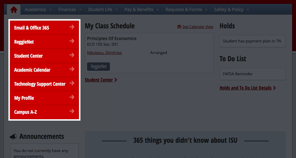Highlight of the new quick link menu option in My.IllinoisState