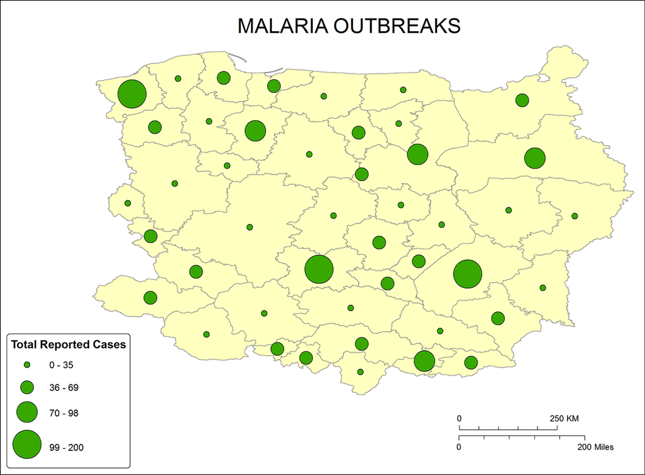 Kostelnick develops new mapping resource to help humanitarian map of area with a malaria outbreak with different size circles designating how intense the biocorpaavc Image collections