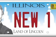 license plate with images of Lincoln, and silhouettes of the state capitol, and the Chicago skyline