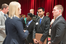 students meet with employers