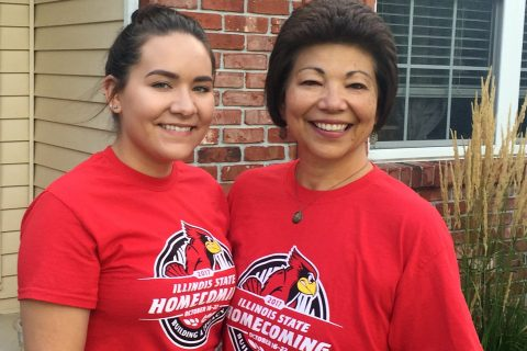 daughter and mother in Homecoming shirts
