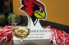 wine glass in front of Redbird head