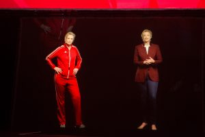 "Jane Lynch '82 appeared as a hologram on stage alongside a hologram version ""Sue Sylvester,"" Lynch's character from Glee."