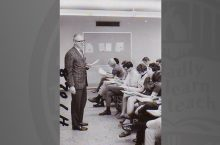 William Gnagey teaches a psychology course circa 1967.