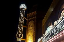 The Paramount Theatre marquee at night.