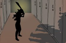 Image from poster depicting a girl near lockers prepared to fight a dragon