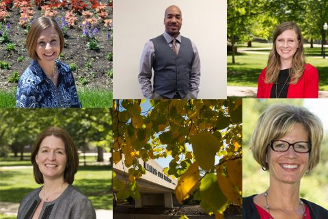 Collage of six people's headshots with ISU bridge in middle