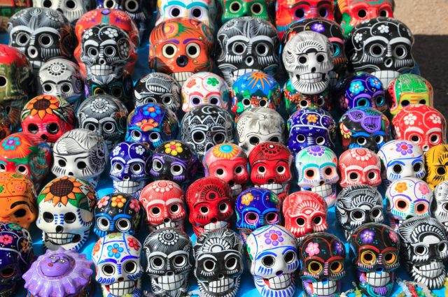 rows of ceramic skulls painted for the Day of the Dead