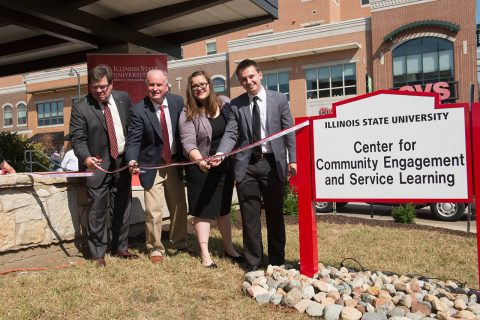 The ribbon cutting of the Center for Community Engagement and Service Learning.