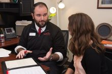 a student gains confidence when talking with a career advisor