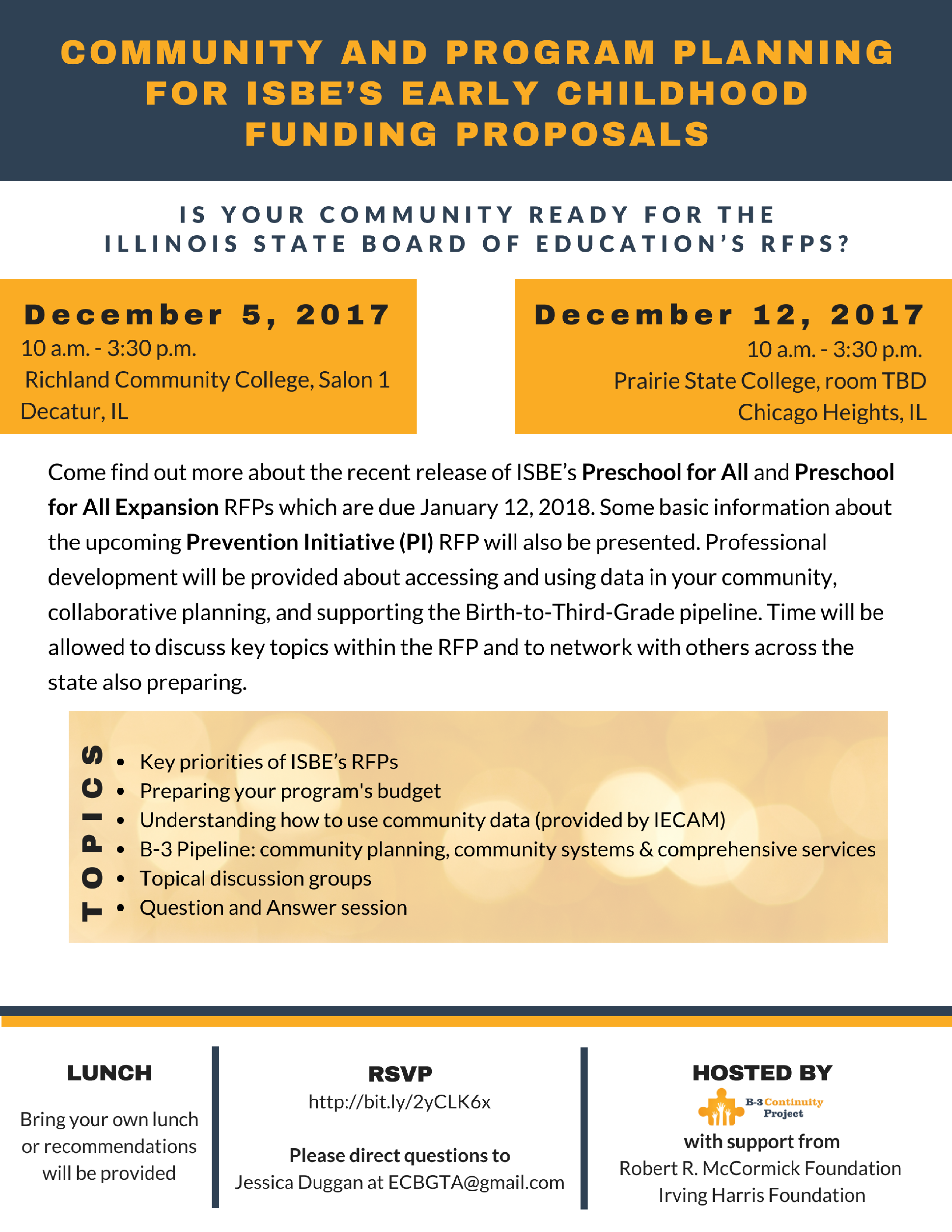 Community and Program Planning for ISBE's Early Childhood Funding Proposals Workshops flyer