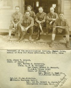 2nd Lt. Robert G. Buzzard, center, ISNU class of 1914, served in the U.S. Army Signal Corps during World War I. Buzzard later became Eastern Illinois University's second president, serving from 1933-1956.