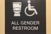 image of a picture with a toitlet, a wheelchair and the words All Gender Restroom.