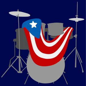 illustration of a drum set with the Puetro Rican flag draped over it.