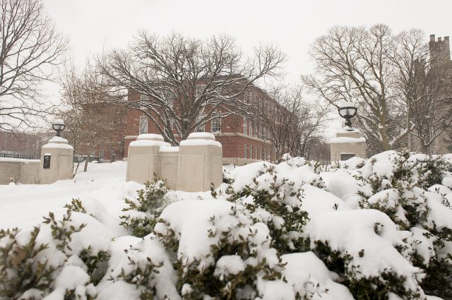 a snow-covered look at the Fell Gates with Edwards Hall in the background