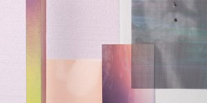 artwork of rectangles and squares painted in soft colors