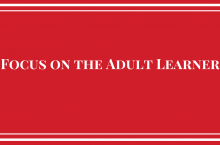white text focus on the adult learner on red background