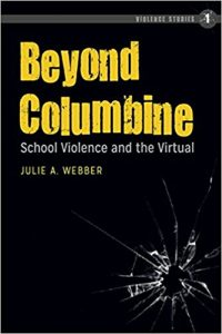 cover of the book Beyond Columbine, with lettering over a background of glass shattered by a bullethole.
