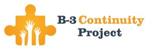 B-3 Continuity Project logo with three hands raised on an orange puzzle piece