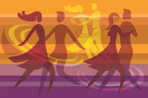 illustrated silhouettes of couples dancing