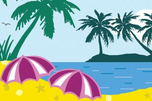 Image from production poster depicting palm trees, beach, and ocean.