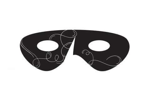 Image of a mardi gra like mask, illustrating this year's Phantom of the Opera theme for the 2018 FOA Gala at the Galleries.