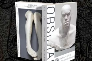 thick journal with cover of marble bust of a man on front, and carved statue of legs on the back