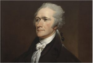 face and coat of Alexander Hamilton in a oil painting