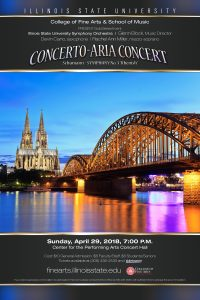 Poster for Symphony Orchestra Concert with concert details. Image is of a bridge over a river and cathedral.