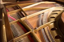 close-up of the piano designed by Chickering & Sons of Boston in 1919.